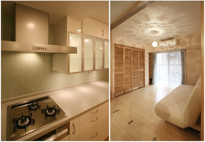 原木色家居和色调是目前都市高压白领都极为渴望的一种自然派居住环境,而环保的材料也贴近了自然。  今天小编给大家介绍的这套小婚房中,大量采用了原木质材料,高雅中又透出传统的自然风,彩色瓷砖的点缀,给夫妇的新婚生活增添了不少情调。木质的地板和白色的天花板相搭配,整体非常协调。
